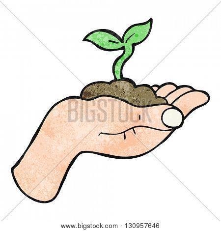 freehand textured cartoon seedling growing held in hand