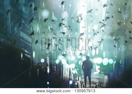 man walking in abandoned city alley with flock of birds, illustration painting