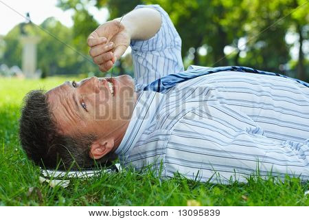 Closeup portrait of relaxed businessman lying in grass in park summertime.