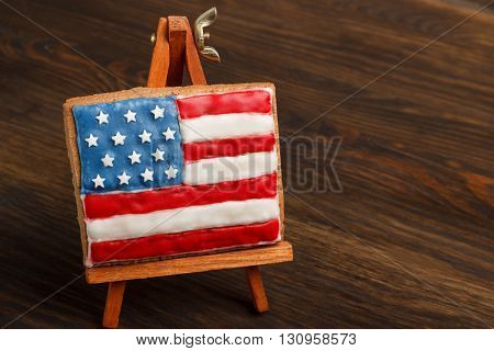 Cookie With American Patriotic Colors On The Easel