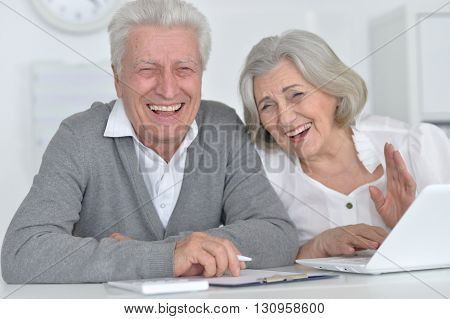 Portrait of a happy senior couple working with laptop