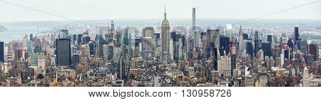NEW YORK USA - Apr 28 2016: New York City Manhattan midtown aerial panorama view with skyscrapers