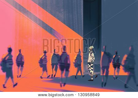 man walking to different  way, unique concept, illustration