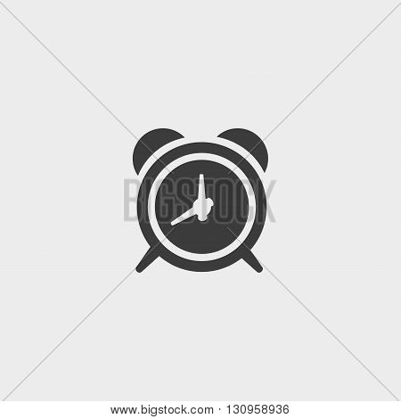 Alarm clock icon in a flat design in black color. Vector illustration eps10