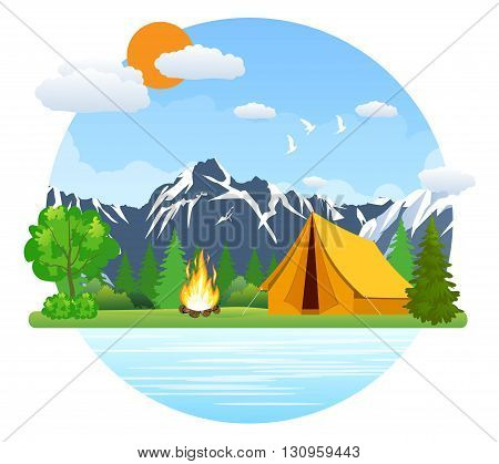 Summer landscape tent and bonfire in mountains near lake. Solitude in nature by the river. Weekend in the tent. Hiking and camping. vector illustration in flat design