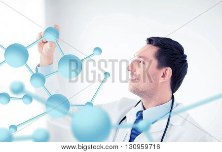 healthcare, medical and technology concept - young doctor with molecules