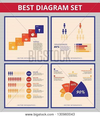 Business diagram set. Templates for process diagram, bar chart and radial diagram