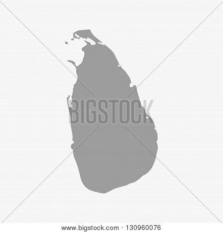 Sri Lanka map in gray on a white background