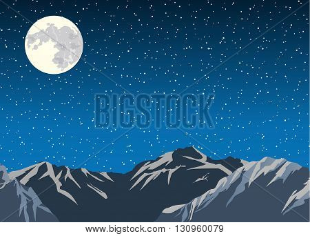 Vector background. Mountains in the background of the sky and moon. Flat design vector illustration.