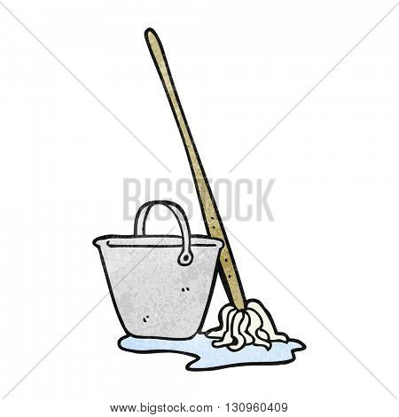 freehand textured cartoon mop and bucket