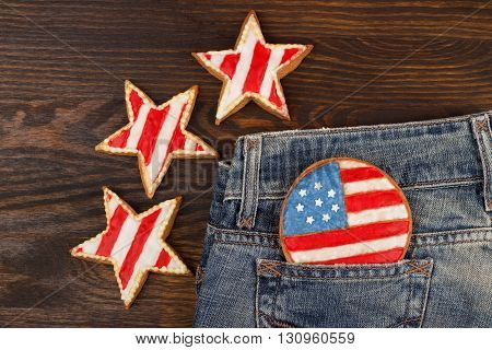 Cookie With American Patriotic Colors In The Pocket