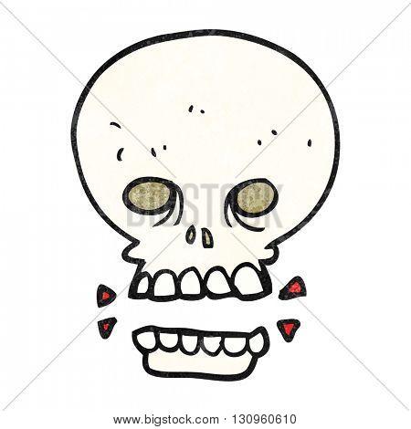 freehand textured cartoon scary skull