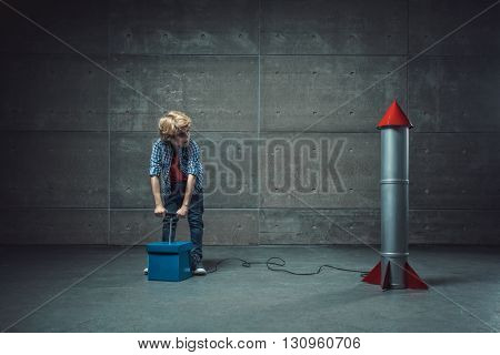 Boy with detonate in studio
