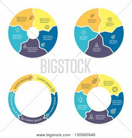 Circular arrows for infographics. Chart, diagram with 5 steps, parts. Vector templates.
