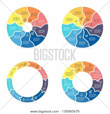Circular arrows for infographics. Chart, diagram with 9 steps, parts. Vector templates.