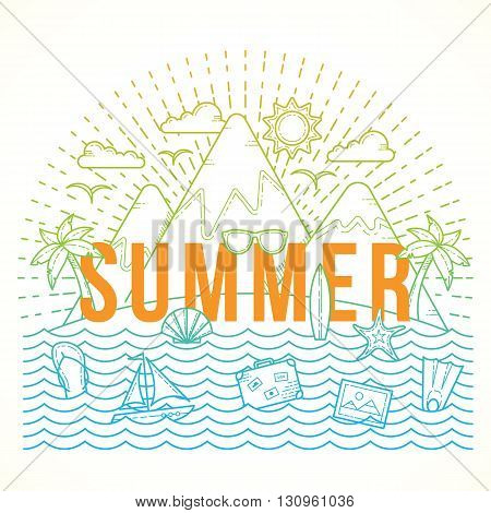 Line Style Flat Vector Color Summer Illustration with Isle, Ocean, Mountains, Palmtrees, Shell, Yacht and Travel Icons. Isolated.