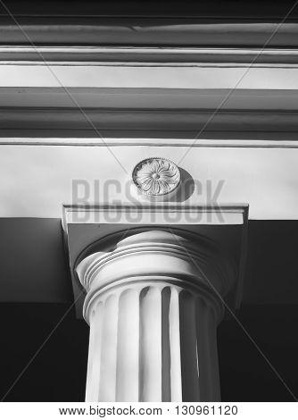 Column of old pavilion in Pavlovsk Park near St.Petersburg Russia. Black and white.