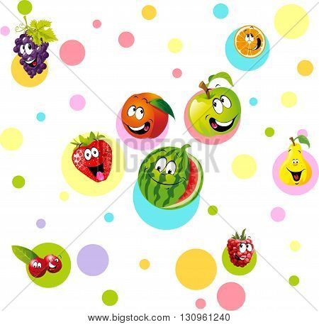 funny fruit with colorful dotteddesign - vector illustration