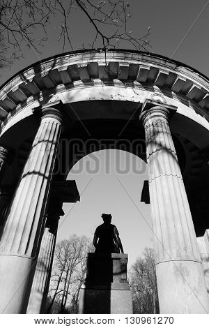 Pavilion Rossi in Pavlovsk Park on the outskirts of St. Petersburg Russia. Black and white.