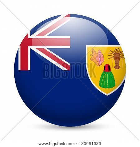 Flag of Turks and Caicos Islands as round glossy icon. Button with flag design