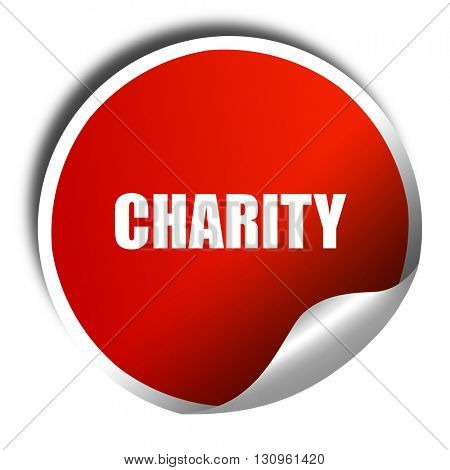 charity, 3D rendering, red sticker with white text