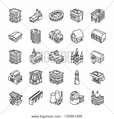 25 3D Buildings outlines vector icons collection