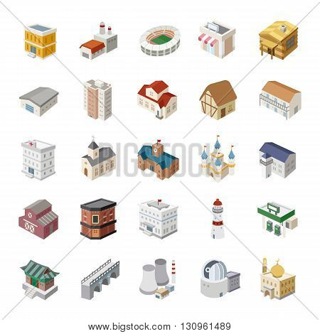 25 3D Buildings color vector icons collection