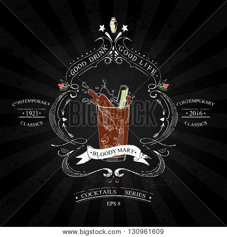 Cocktail Bloody Mary in vintage style stylized drawing with chalk on a blackboard in a series of contemporary classics