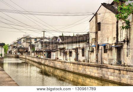 Suzhou old town canals and houses - Jiangsu, China.