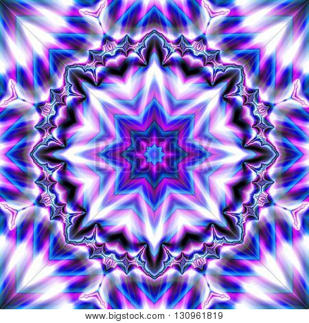 Geometric star shape purple and white fractal image