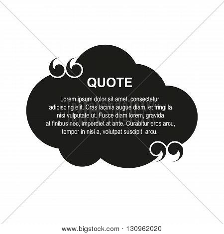vector quote with quotation marks, commas, black cloud with white text template.