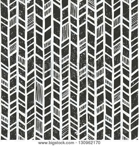 Vector hand drawn tribal pattern. Seamless geometric background with grunge texture. EPS10 vector illustration.