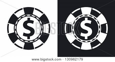 Vector casino chips icon. Two-tone version on black and white background