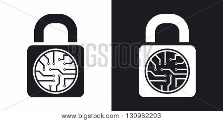 Vector electronic lock icon. Two-tone version on black and white background