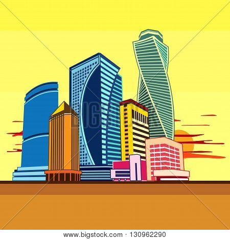 Cityscape of tall buildings. Graphics vector image.