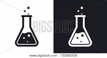 Vector lab flask icon. Two-tone version on black and white background