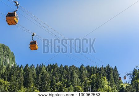 Sella Nevea Udine Italy - July 10 2015: Alpine landscape with cable car