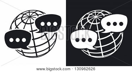 Vector global social network icon. Two-tone version on black and white background