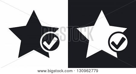 Vector star favorite icon with check mark glyph. Two-tone version on black and white background