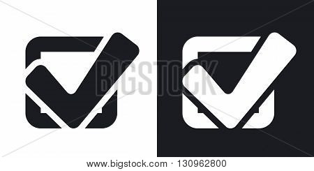 Vector tick check box icon. Two-tone version on black and white background