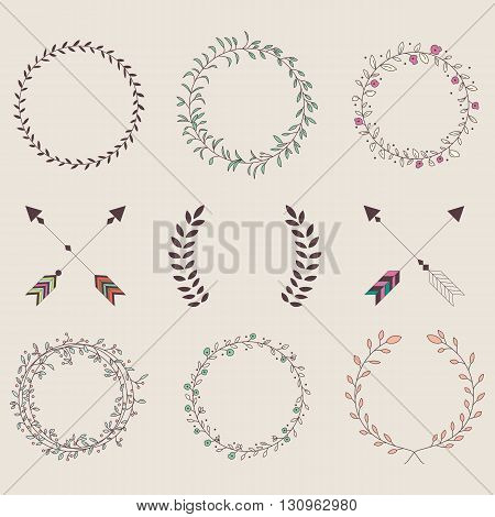 Hand drawn vintage arrows feathers dividers and floral elements vector illustration