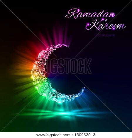 Glowing Moon Crescent with bright flare and radiance in spectral colors . Greeting card of holy Muslim month Ramadan