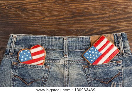 Cookies With American Patriotic Colors In The Pockets