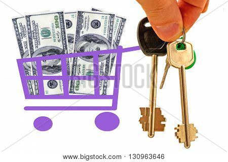 The keys to the house and shopping cart with money