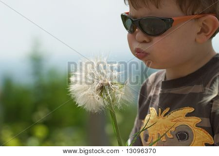 Four years old child blowing Dandelion seed outdoor in spring park.