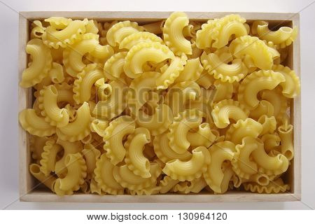 creste di gallo pasta on the white background