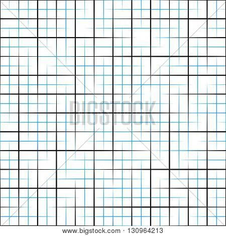 Seamless Grid Pattern. Vector Black and Blue Background. Regular Texture