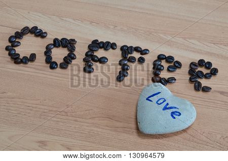 rock and coffee lover on the table