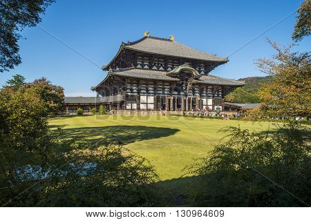 Nara Japan - October 26: Tōdai-ji is a Buddhist temple complex and houses the world's largest bronze statue of the Buddha Vairocana