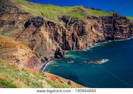 Small Wild Beach Lost In The Cliffs Of Ponta De Sao Lourenco